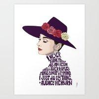 audrey hepburn Art Prints featuring Audrey Hepburn by Kenneth J. Franklin