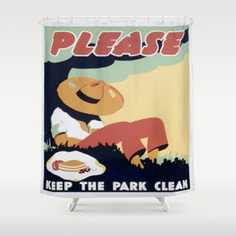 Vintage poster - Please Keep the Park Clean Shower Curtain