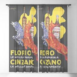 Leonetto Marsala Apertif Advertising Poster Sheer Curtain