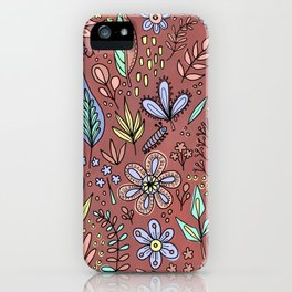 Flowers and Leaves Pattern iPhone Case