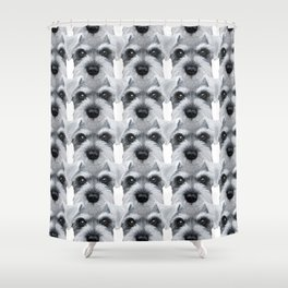 Schnauzer pattern-Grey Dog illustration original painting print Shower Curtain