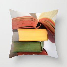 Vintage Book Stack Throw Pillow