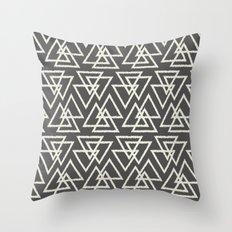 Trilogy Triangles-Dark Gray & Cream Throw Pillow
