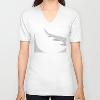 airplane V-neck T-shirts featuring Airplane by ONEDAY+GRAPHIC