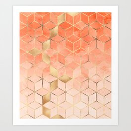 Soft Peach Gradient Cubes Kunstdrucke