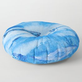 Great white in blue Floor Pillow