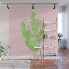 Linocut Cactus #1 Minty Pinky Wall Mural