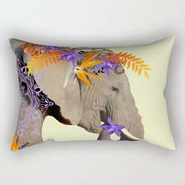 Elephant Flower Artwork - Heliconia Monstera Leaves Rectangular Pillow