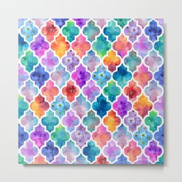 Colorful Watercolor Moroccan Pattern - I Metal Print