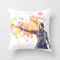 Portrait of Rick Grimes from The Walking Dead Throw Pillow