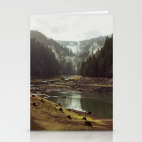 a clockwork orange Stationery Cards featuring Foggy Forest Creek by Kevin Russ