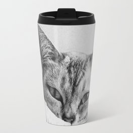 Minimalist grey cat Travel Mug