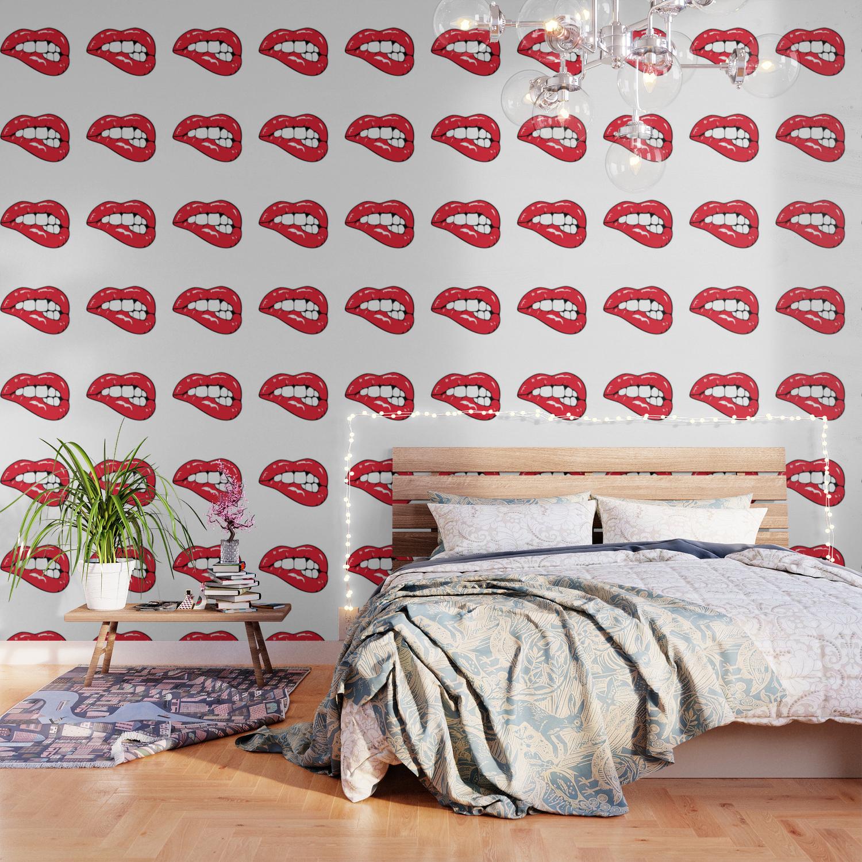 Red Lips Pop Art Wallpaper By Mydream Society6