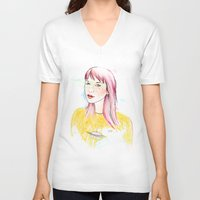 ufo V-neck T-shirts featuring UFO by Belén Segarra