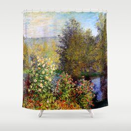 "Claude Monet ""Corner of the Garden at Montgeron"" Shower Curtain"