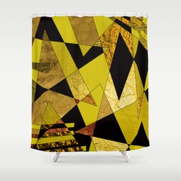 Black, Gold & Copper Shards Shower Curtain