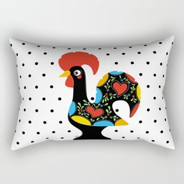 Famous Rooster Lucky Charm & Polka Dots Rectangular Pillow