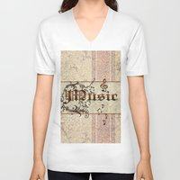 music notes V-neck T-shirts featuring Music by nicky2342