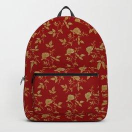 GOLDEN ROSE FLOWERS ON BURGUNDY Backpack