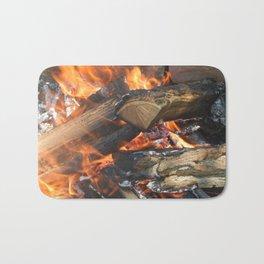 Natural fire burns firewood Bath Mat
