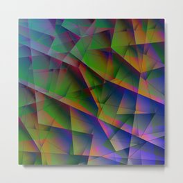 Abstract bright pattern of green and overlapping blue triangles and irregular-shaped orange lines. Metal Print
