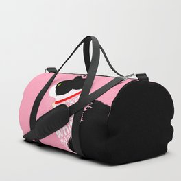 Typographic black and white lazy kitty cat on pink  #typography #catlover Duffle Bag