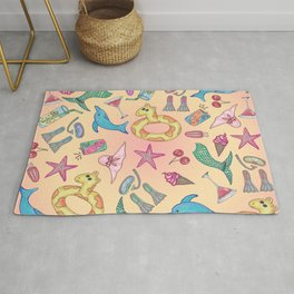 Cute Summer Beach and Poolside Illustrations Rug
