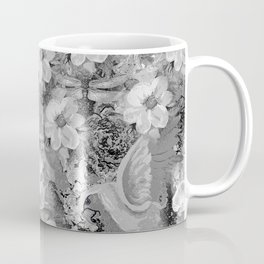 PARROTS MAGNOLIAS ROSES AND HYDRANGEAS TOILE PATTERN IN GRAY AND WHITE Coffee Mug