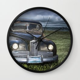 Vintage Automobile at Dusk Wall Clock