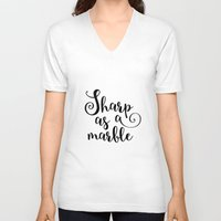 marble V-neck T-shirts featuring Marble by melonweed