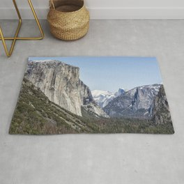 El Capitan, Half Dome and Sentinel Rock from Tunnel View Rug