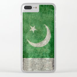 Flag of Pakistan in vintage style Clear iPhone Case