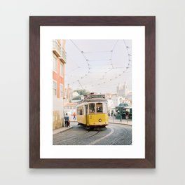Yellow Tram in Lisbon | Portugal Streetcar Travel Photography | Europe Trolley Framed Art Print