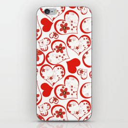 Abstract pattern with red hearts and flowers . iPhone Skin