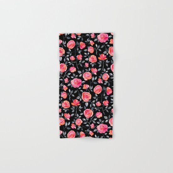 Roses on Black - a watercolor floral pattern Hand & Bath Towel