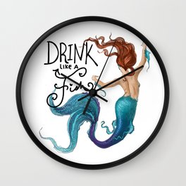 Drink Like a Fish Wall Clock