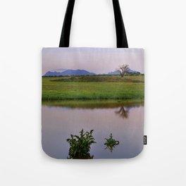 Serenity sunset at the lagoon. Spring dreams Tote Bag