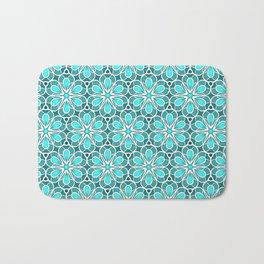 Symmetrical Flower Pattern in Turquoise Bath Mat