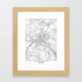 Bern Map White Framed Art Print