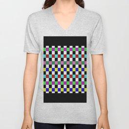 Retro 3 - Abstract, multicoloured, bold, chekkered, checkered pattern Unisex V-Neck