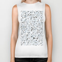'Speckle Party' Blue Black and White Speckle Terrazzo Pattern Biker Tank