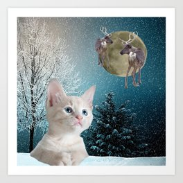 White Cat and Reindeers Art Print