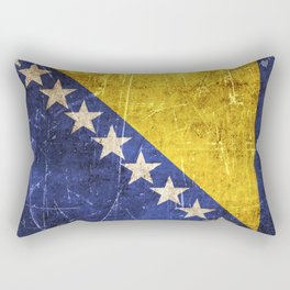 Vintage Aged and Scratched Bosnian Flag Rectangular Pillow