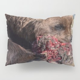 Hungry Alaskan Grizzly Bear - Eating Raw Meat Pillow Sham