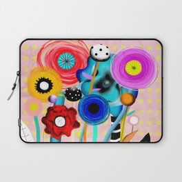 Yellow Polka Dots Floral Bouquet Laptop Sleeve