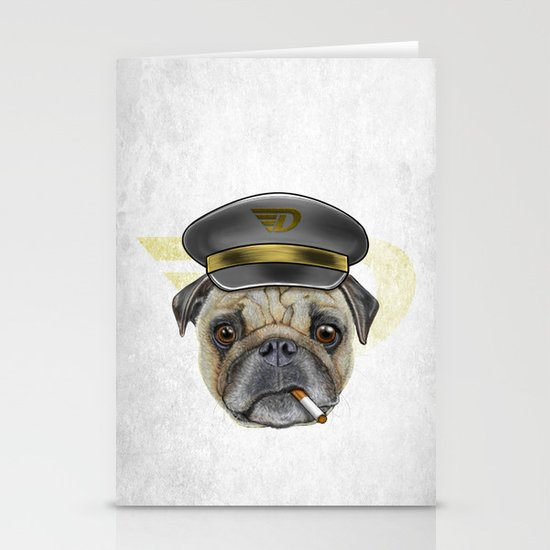 Pug Commander  Stationery Cards