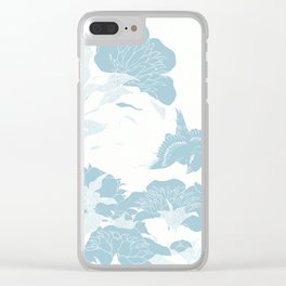 japanese Flowers White and Blue Clear iPhone Case