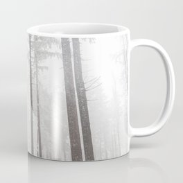 Mysterious road in a frozen foggy forest Coffee Mug