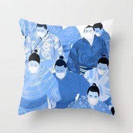 Sumos in Masks Indigo Throw Pillow