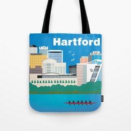 Hartford, Connecticut - Skyline Illustration by Loose Petals Tote Bag